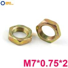 200 piezas M7 * 0,75*2 tuerca fina hilo fino acero al carbono Color galvanizado