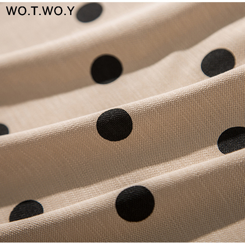 WOTWOY Summer Polo Shirt Dress Women Dot Print Plus Size Loose Cotton Maxi Dresses Pocket Short Sleeve Black Apricot Long Dress 11