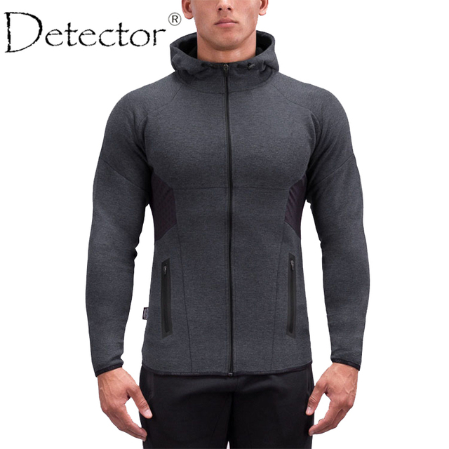 faa742e7985 Detector Mens Running Jackets Fitness Breathable Hooded Sweatshirt Zipper  Slim Fit Pullover Hoodies Gym Sportswear
