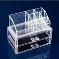 Free Shipping Clear Acrylic Cosmetic Makeup Case Holder Drawers Jewelry Storage Box Gift  8