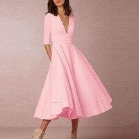 Phụ Nữ cổ điển của Dài Bóng Gown Prom Ladies Đảng Dress Cộng Với kích thước Sâu V-Cổ Nửa Tay Áo Phụ Nữ Dresses Black Pink Trắng màu xanh