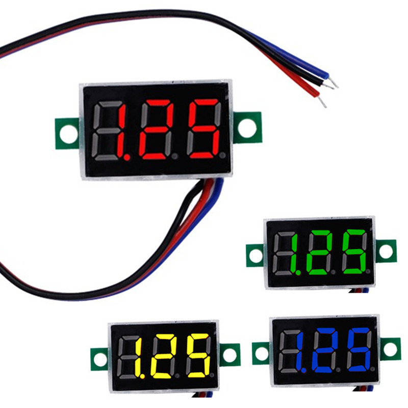 DC mini 0.36  Digital Red LED Display 0-100V Voltmeter 3 Wires Voltage Meter Red/Green/Blue/yellow for car battery test 42% off 0 28 super mini digital red led display voltmeter dc 3 5 30v 2 wires vehicles motor voltage panel meter battery monitor