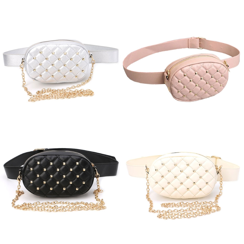 THINKTHENDO Women Fashion Chain Waist Belt Bag Rivet Fanny Pack Travel Shoulder Chest Bag цена
