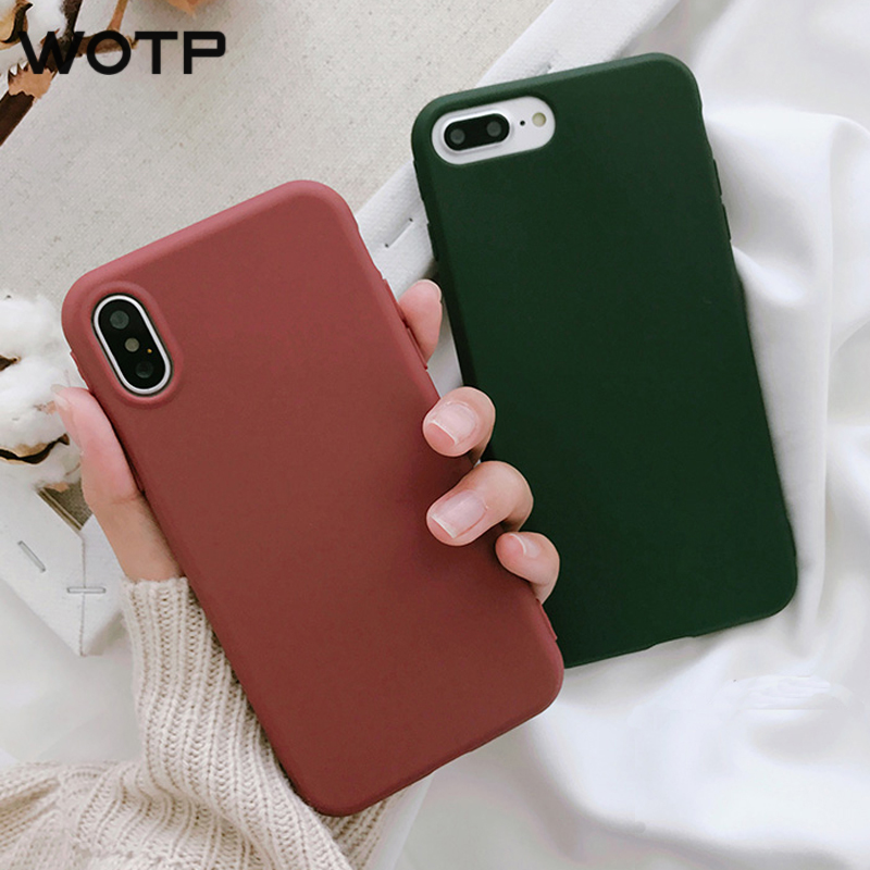 108ee8e67796 WOTP Cute Candy Color Phone Case For iphone X 5S SE 6 6S 7 8 Plus Case  Retro Wine Red Dark Green Back Cover Cases Soft TPU Capa