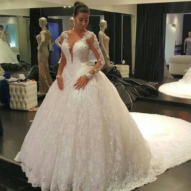 Ball Gown Wedding Dresses With Lace Back : Aliexpress buy iiiusion back long sleeve wedding