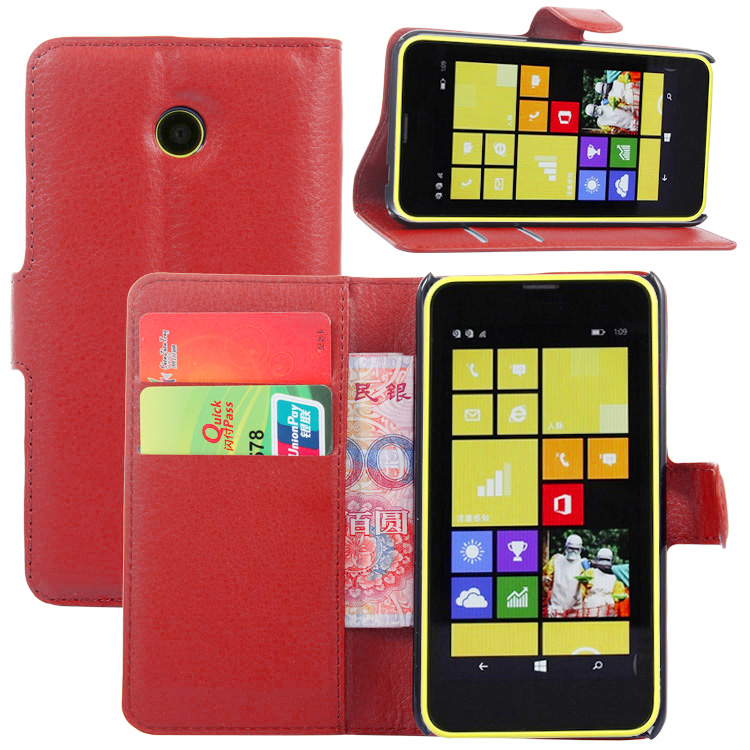 3b93e51e655 Funda de cuero tipo billetera para Nokia Lumia 630 635 636 638 N630 N635  N636 funda trasera de cuero con soporte estuche de Coque funda>