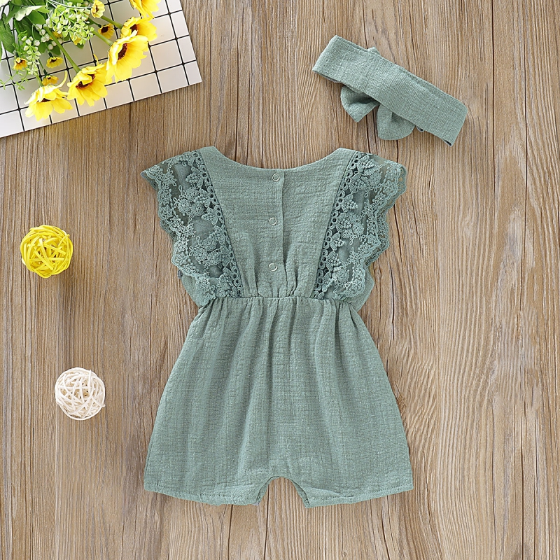 Summer Baby Girl Rompers Newborn Baby Clothes Toddler Flare Sleeve Solid Lace Design Romper Jumpsuit with