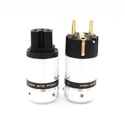 Um par novo oem high end 24 k banhado a ouro iec conector eur schuko plugue de alimentação da ue para adaptador de extensão de plugue de energia de alta fidelidade