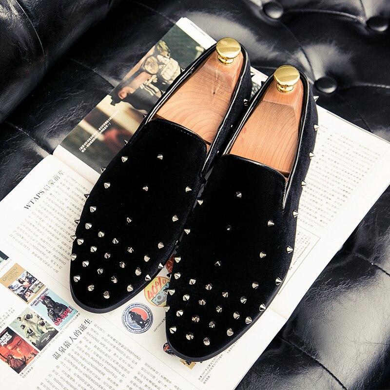 Chaussures Sur Slip 2018 Métal Signe Appartements Casual Black En Hommes Cuir Mocassins Nouveaux Marque Designer Verni Puamss Pour Mode tqg4w