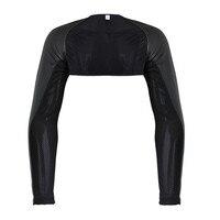 Men S Long Sleeve Faux Leather Jacket Arm Shrug Half Costume Motorcycle Costumes