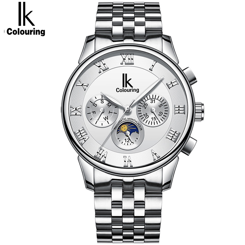 IK Colouring Mens Watches Luxury Brand Automatic Mechanical Watches Top Quality Skeleton Watch with Date Day Watch Men mce sports mens watches top brand luxury genuine leather automatic mechanical men watch classic male clocks high quality watch