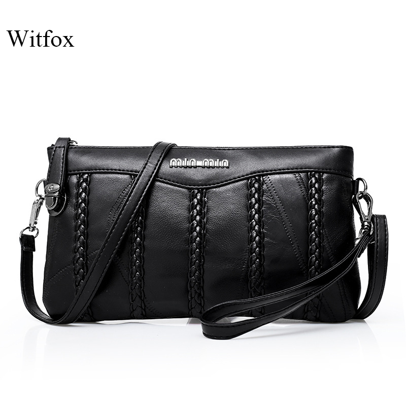 Leather women bag weaving pattern sheepskin mini shoulder bags ladies clutches classic cell phone packet-in Clutches from Luggage & Bags