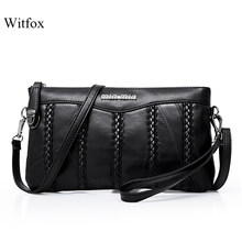 Leather women bag weaving pattern sheepskin mini shoulder bags ladies clutches classic cell phone packet(China)