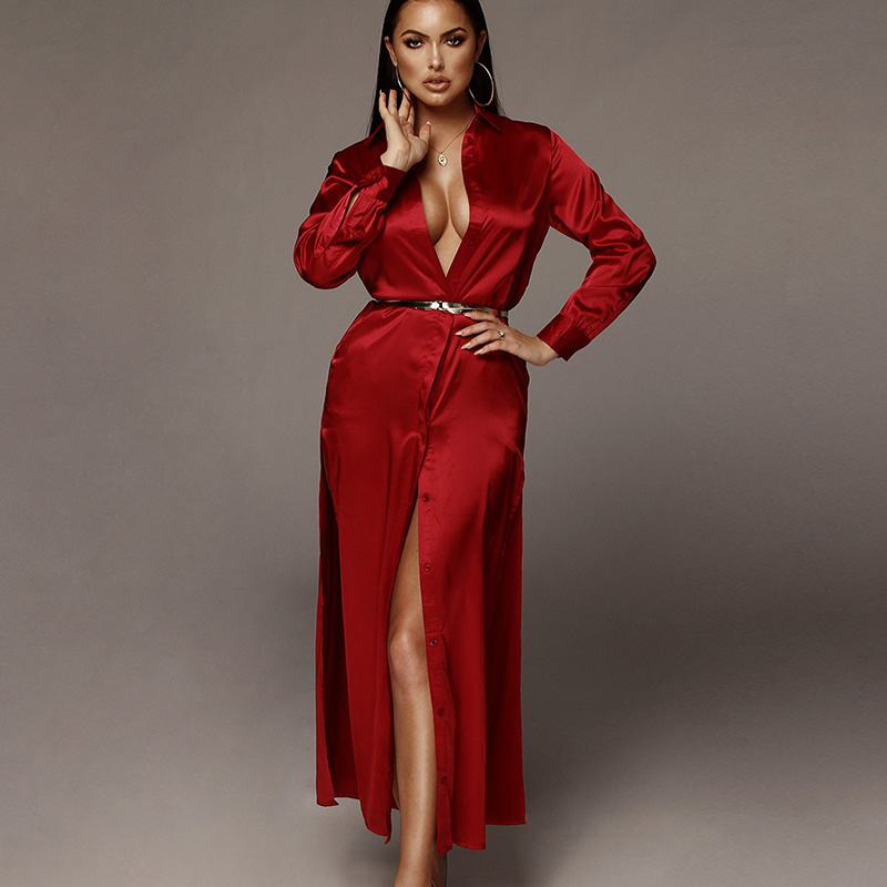 Fantoye Deep V-Neck Satin Party Club Dress Women Burgundy Lapel Long Sleeve High Split Bodycon Dress Elegant Evening Vestidos
