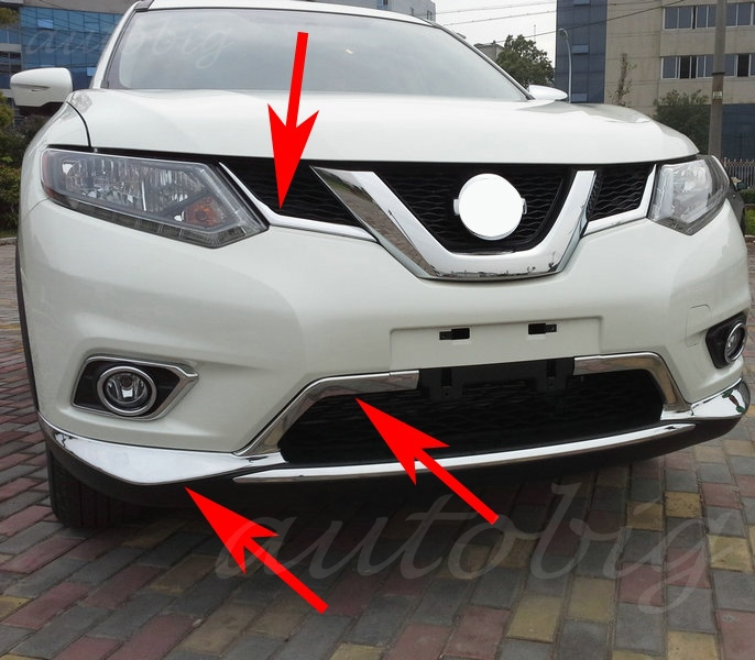 Nissan Rogue Select >> Chrome Front Grille Grill Bumper Air Inlet Cover Trim Kit FOR Nissan X Trail Rogue T32 2014 2015 ...