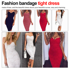 Fashion Party dress Women Sexy Sleeveless Lace Crochet Hollow Out Slim Spaghetti Strap Tight