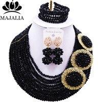 Majalia Fashion Romantic Nigerian Wedding African Jewelry Set Black Crystal Necklace Bride Jewelry Sets 10CP003