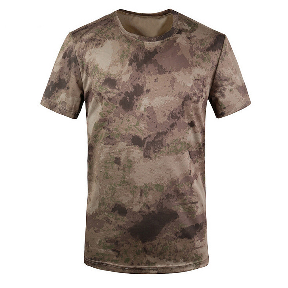 New Outdoor Hunting Camouflage T-shirt Men Breathable Army Tactical Combat T Shirt Military Dry Sport Camo Camp Tee-Ruins Yellow