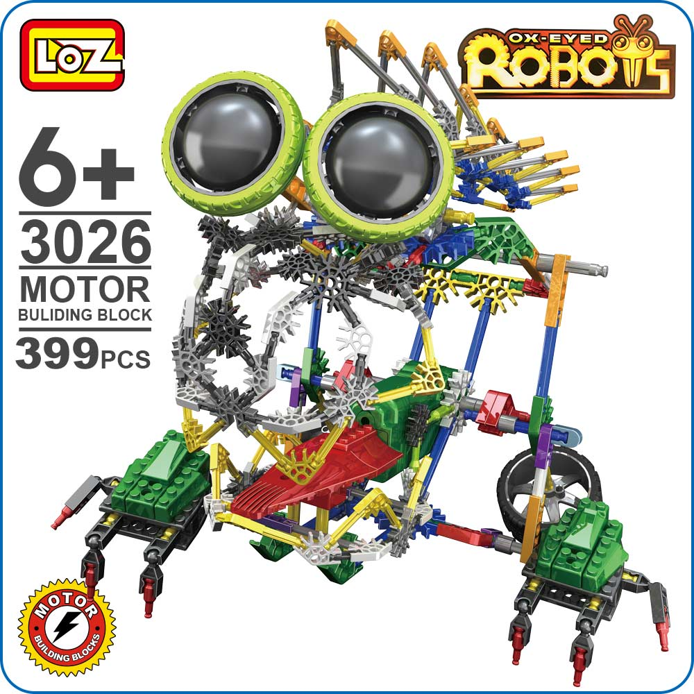 LOZ Building Blocks Educational Toys Kids Motor Building Block Chomp Robots Electric Motors Bricks DIY Plastic Assembly Toy 3026 mr froger loz diamond block easter island world famous architecture diy plastic building bricks educational toys for children