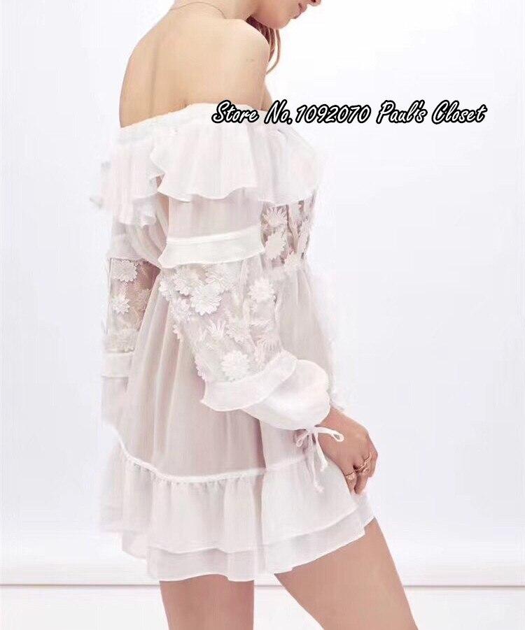 Maniche Al Largo Ricamato Spalla Lunghe Daisy Vestito Bianco White Donne Della E Viti Mini nUwRpqU