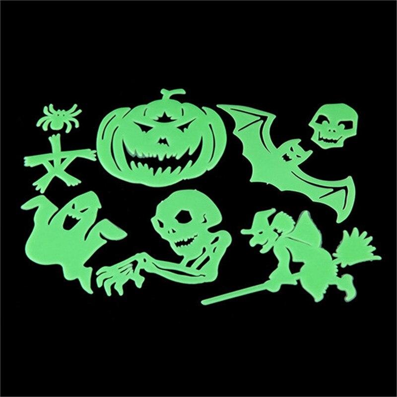 8pcs Halloween Props Bat Diy Ceiling Glow In The Dark Glowing Bedroom Home Wall Decor Luminous Halloween Terror Decorations Fe80 In Glow Party