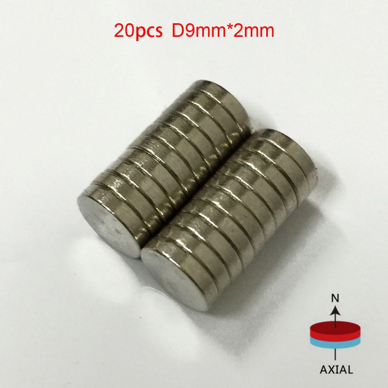 20 Pcs/Pack 9mm x 2mm N50 Magnetic Materials Neodymium Mini Small Round Disc Magnets e cap aluminum 16v 22 2200uf electrolytic capacitors pack for diy project white 9 x 10 pcs