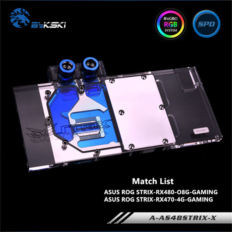 Bykski Full Coverage GPU Water Block For ASUS RX480 RX580 STRIX Graphics Card A-AS48STRIX-X