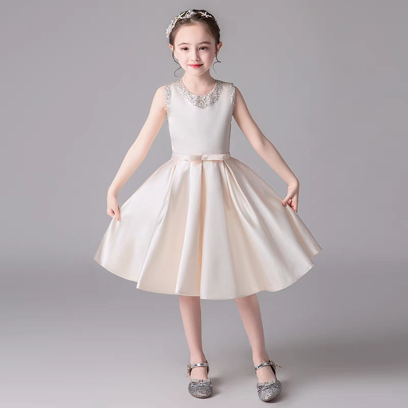 3 14Years Baby Kids Elegant Luxury Champagne Color Birthday Wedding Party Princess Dress Children Teens Host