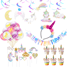 Unicorn Party 1st Birthday Baby Girls Supplies Shower Headwear Cake Topper Balloons