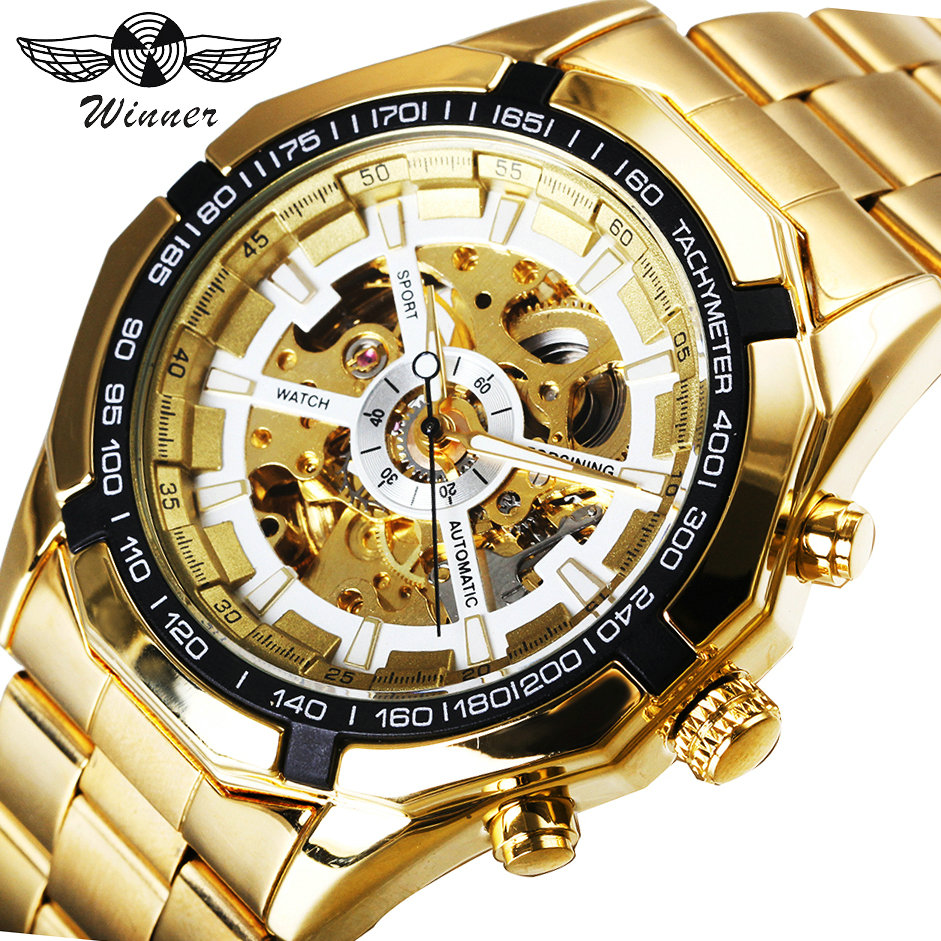 WINNER Top Brand Luxury Watch Men Automatic Mechanical Watches Golden Stainless Steel Strap Skeleton Dial Tachymeter Wristwatch tevise men black stainless steel automatic mechanical watch luminous analog mens skeleton watches top brand luxury 9008g