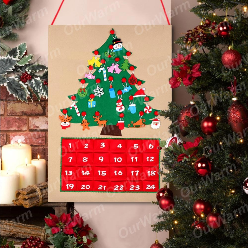 Us 12 79 30 Off Ourwarm Diy Fabric Felt Advent Calendar With Pocket Christmas Tree Calendar Wall Hanging Christmas New Year Product Decoration In