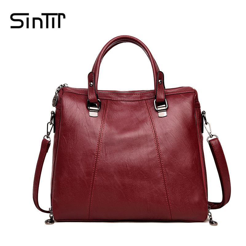 SINTIR Famous Brand Large Capacity Casual Women Handbag Vintage PU Leather Solid Fashion Women Shoulder Bag Big Messenger Bags new arrival famous brand canvas handbag fashion casual bags designer women shoulder bag solid zipper handbag large capacity bag