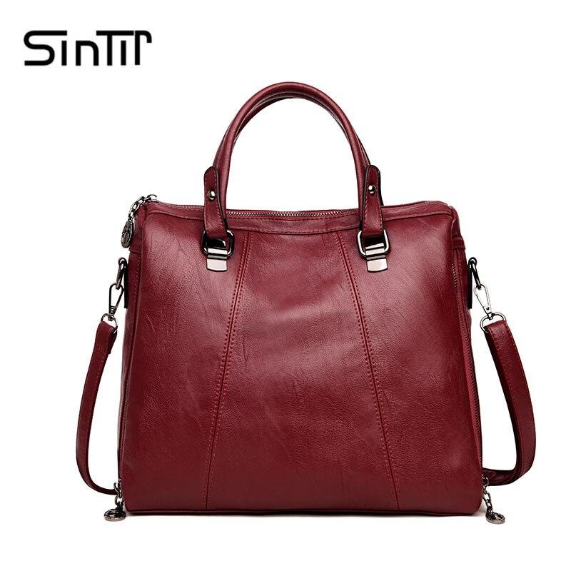 купить SINTIR Famous Brand Large Capacity Casual Women Handbag Vintage PU Leather Solid Fashion Women Shoulder Bag Big Messenger Bags по цене 1350.84 рублей