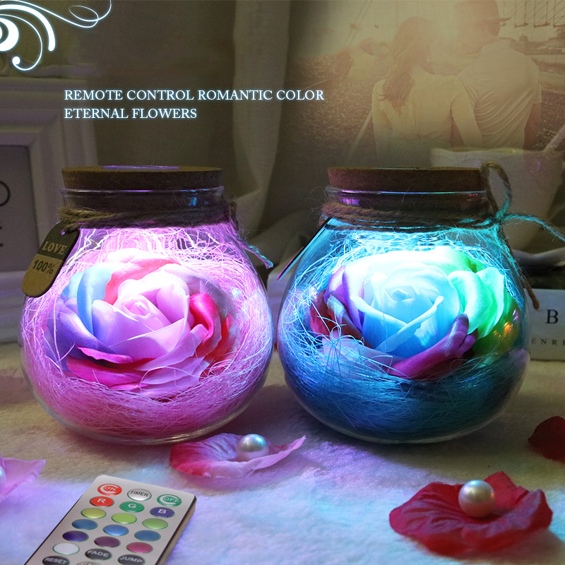 Led Colorful Flower Night Light Rgb Creative Romantic Bottle Immortalized Rose Gift Valentines Day Christmas Holiday Lighting Lights & Lighting
