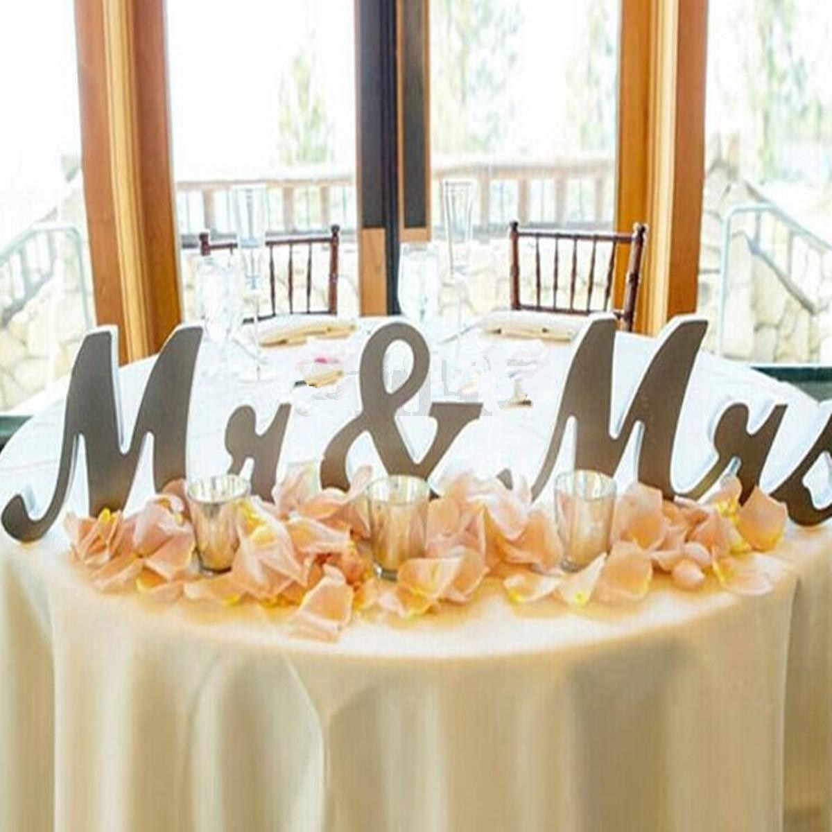 3Pcs Silver Wooden Letters Mr & Mrs Table Centrepiece Wedding ...