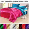 Silk Bedding Sets 4pcs 2 Sides Solid Colors Different Color Flat Sheet Duvet Cover Pillowcases Many