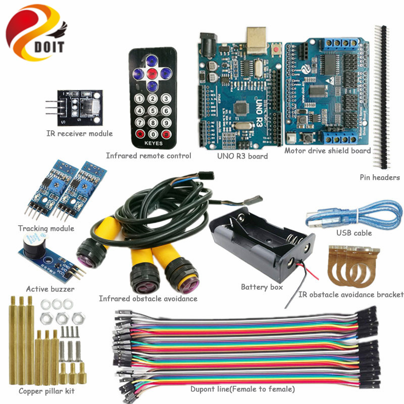 DOIT 1 set IR Control Kit with Arduino UNO R3 Board+Motor Drive Shield Bard for Tracking Obstacle Avoidance for Arduino DIY Kit стоимость