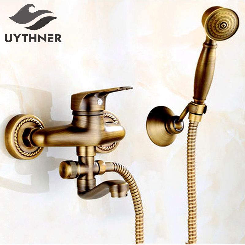 Uythner Contemporary Wall Mounted Dual Handles Antique Brass Shower Faucet Mixer Tap wall mounted dual handles antique brass finish bathroom shower faucet mixer tap