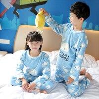 Christmas Pyjamas For Children Cartoon Print Kids Coral Fleece Pajamas Set Warm Flannel Boy Winter Sleepwear