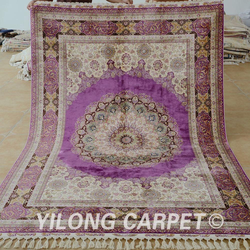 Yilong 5.5'x8 'antik kézzel készített pulyka szőnyegen kézzel - Lakástextil