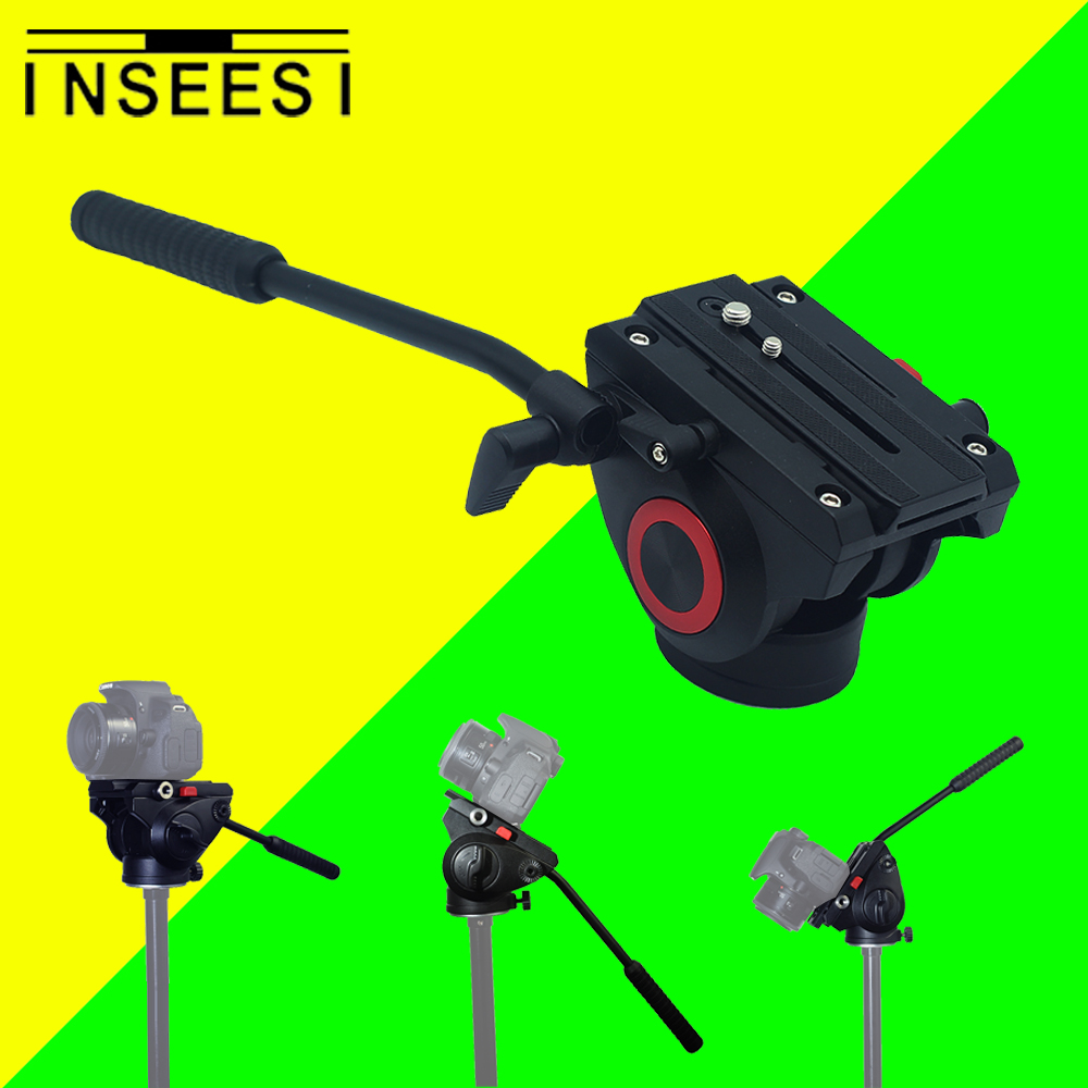 INSEESI Aluminum Alloy Video Camera Tripod Action Fluid Drag Pan Head For Canon Nikon Sony DSLR Camera Camcorder Shooting Film aluminum alloy professional monopod with mini tripod hydraulic pan tilt head for canon nikon dslr camera recording video
