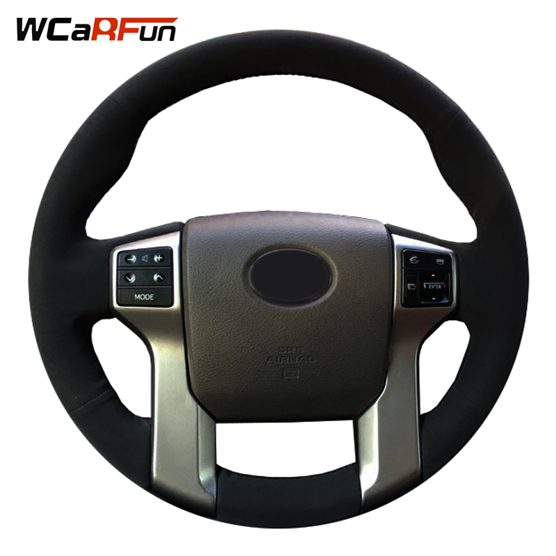 wcarfun hand stitched black suede auto car steering wheel cover for toyota land cruiser prado. Black Bedroom Furniture Sets. Home Design Ideas