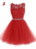 2017赤いフラワーガールのドレスノースリーブアップリケビーズラインストーンパフィーチュールイブニングドレスウエディングドレスページェントドレス女の子のため
