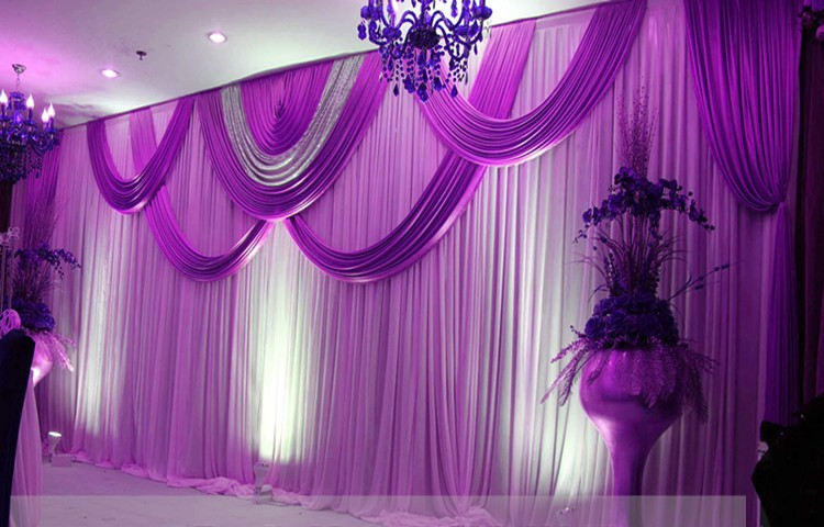 Buy express free shipping purple wedding for Background curtain decoration
