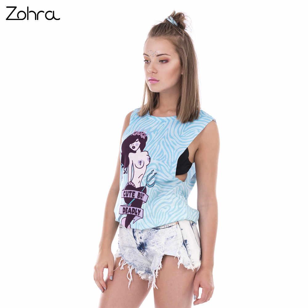 0c811c8725d2cb Zohra New Arrival Women Tops Cute But Deadly Mermaid Printing Vest Women  Fashion Cozy Open Sleeve