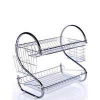 2 Tiers Stainless Steel Dish Rack Double Drain Dish Rack for Plates Dish Cutlery Cup Kitchen Shelf Storage Drying Dishware