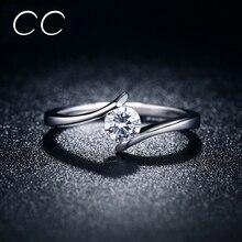 Простой дизайн обручальное кольцо белый прозрачный Цирконий классические обручальные кольца для женщин Свадебные модные ювелирные изделия Bague Femme CC030