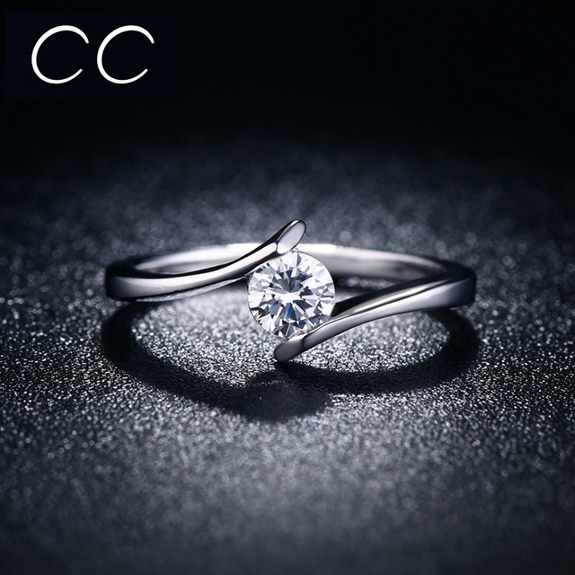 Simple design engagement ring white clear zirconia classic wedding simple design engagement ring white clear zirconia classic wedding rings for women marriage fashion jewelry bague junglespirit Images