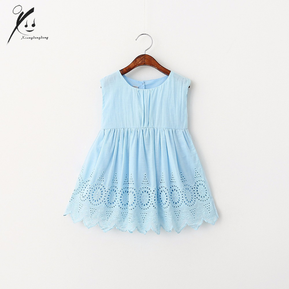Baby Girls Dress Hollow Out Hem Sleeveless Princess Kids Party Children Day Dresses Cotton Back Bamboo Cotton 3-7T XDD-602910 high quality girls baby hollow out bud silk condole belt dress princess party dresses children s clothing wholesale