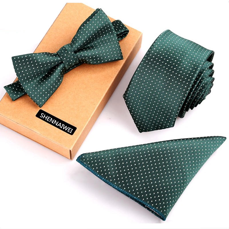New mens necktie sets tie and pocket square bow tie set 3pcs bowtie set stripe mens black neck ties and handkerchief man gift